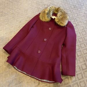 Kate Spade Faux Fur Wool Blend Coat-EUC!!!